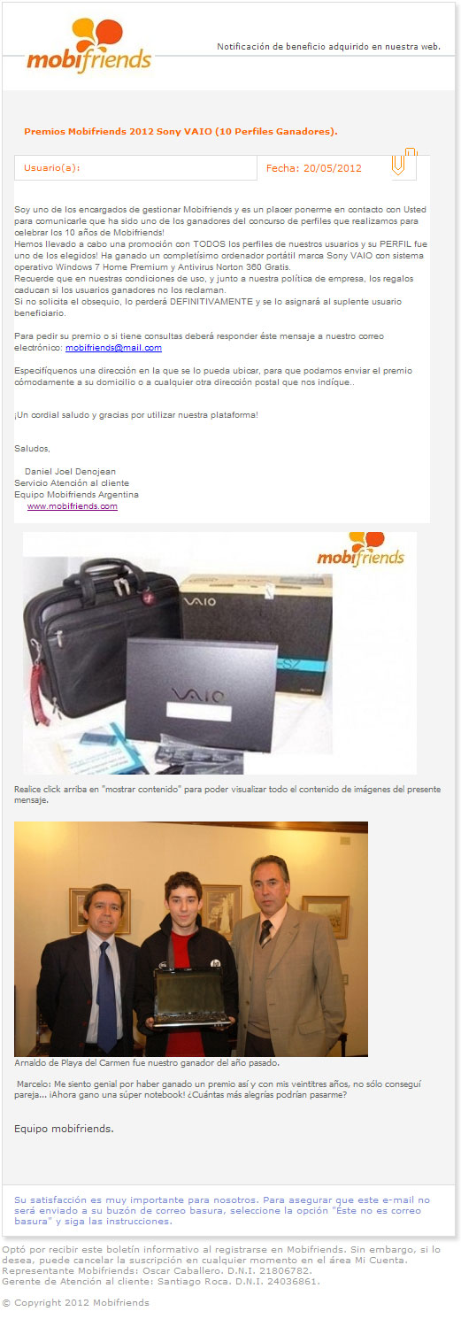 falso sorteo Sony VAIO mobifriends 2012
