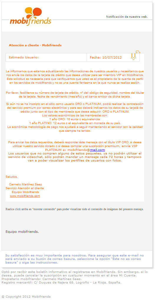 Falso email subscripción Premium mobifriends