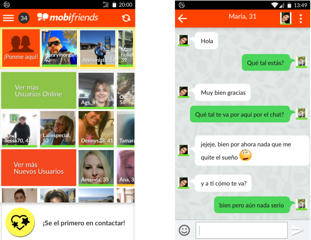 mobifriends screenshot principal + chat